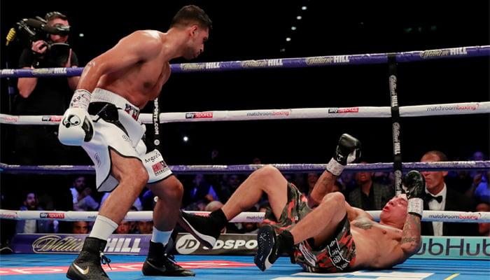 Amir Khan of Britain in action against Samuel Vargas of Colombia in Arena Birmingham, Britain, September 8, 2018. Action Images via Reuters/Andrew Couldridge