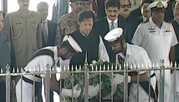 Prime Minister Imran Khan laid a floral wreath at Quaid's mausoleum in Karachi here on Sunday, September 16, 2018. Photo: Geo News screen grab