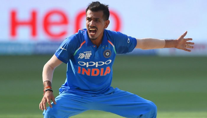 Indian legspinner Yuzvendra Chahal after dismissing Imam-ul-Haq. Photo: AFP