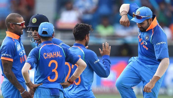 Skipper Rohit Sharma celebrates opener Fakhar Zaman's wicket. Photo: AFP