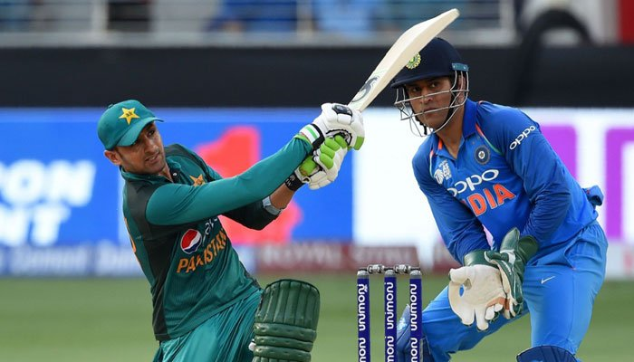Shaoib Malik plays a stroke during the match. Photo: AFP