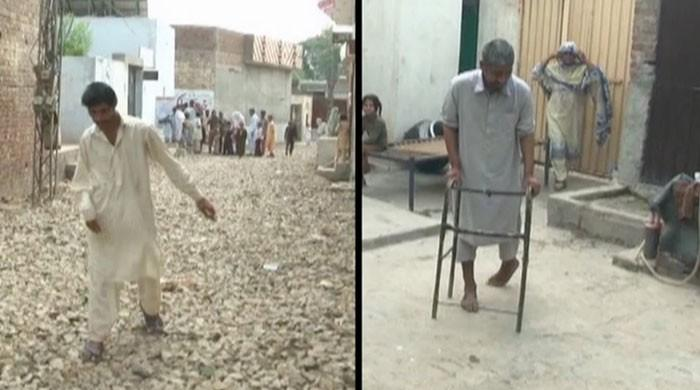 People are falling sick due to contaminated water in a village near Lahore