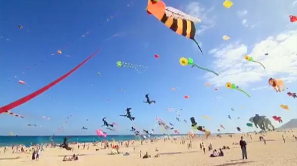 Young and old alike flock to kite-flying festival in Spain