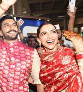 Deepika, Ranveer spotted at Mumbai airport