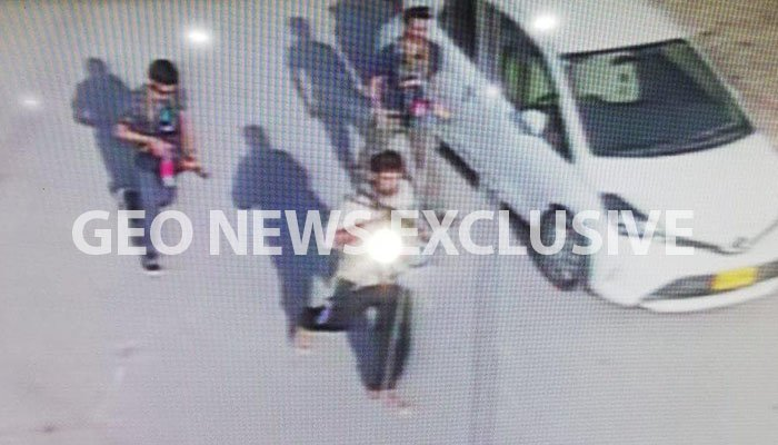 CCTV screengrab of the three terrorists outside the Chinese Consulate in Karachi - Geo News