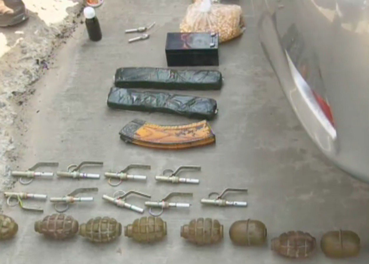 Nine hand grenades, Kalashnikov bullets, magazines and explosives were recovered from the possession of the terrorists - Geo News screengrab
