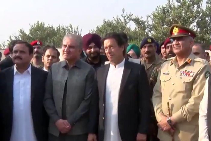 CM Punjab Usman Buzdar (left), FM Qureshi (left), PM Imran Khan (centre), COAS General Bajwa (right) arrive for the groundbreaking of Kartapur corridor. Photo: ISPR