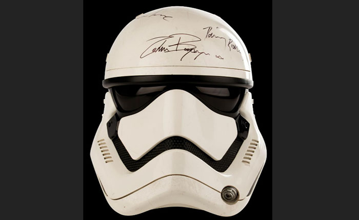 "A signed Stromtropper helmet from Star Wars ""The Force Awakens"" is among items on the auction block. Photo: Reuters"