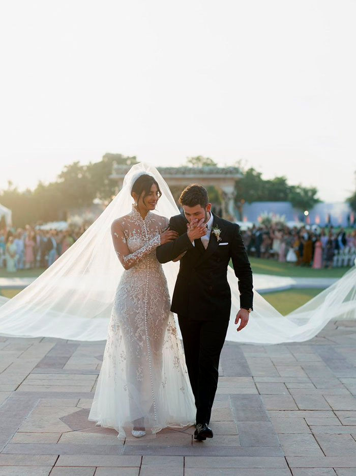 Nick Jonas and Priyanka Chopra in traditional western wedding attire. Photo: People magazine/Priyanka Chopra Twitter