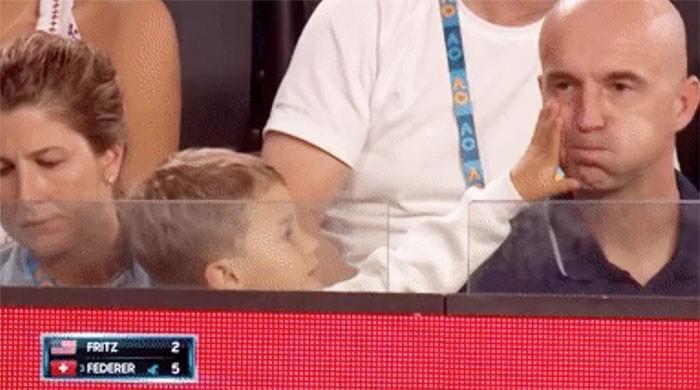 Watch: Federer's little son steals the show