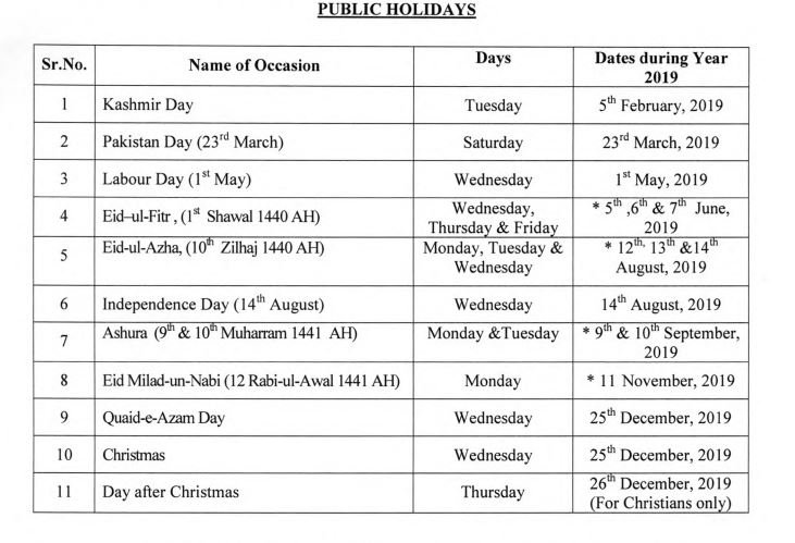 Govt releases list of public holidays for year 2019