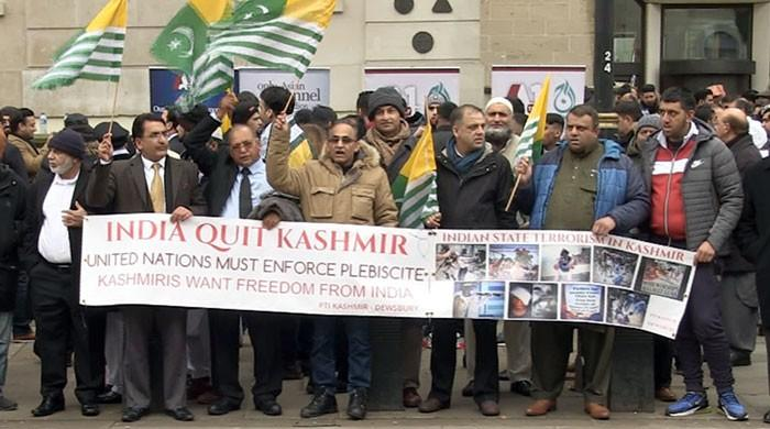 Massive show of support for Kashmiris at Downing Street protest