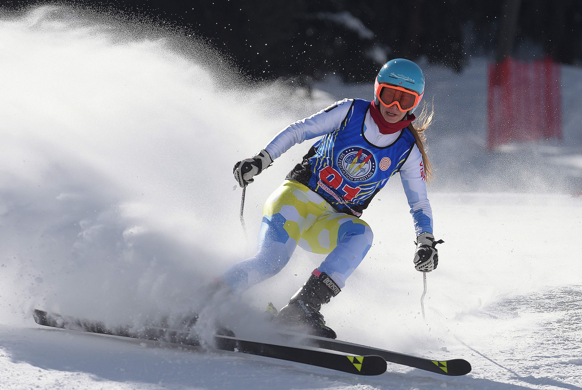 In this picture taken on January 29, 2019, Ukrainian skier Anastasia Gorbunova takes part in the CAS Karakoram International Alpine Ski Cup, at the Pakistan Air Force-owned and operated Naltar Ski Resort, some 25km north of Gilgit in Pakistan's remote mountainous north. Photo AFP