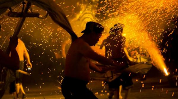 Artists Perform Fire Dragon Dance In Southwest China