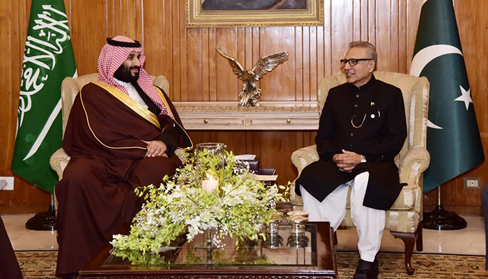 Saudi Crown Prince meets President Arif Alvi at President House