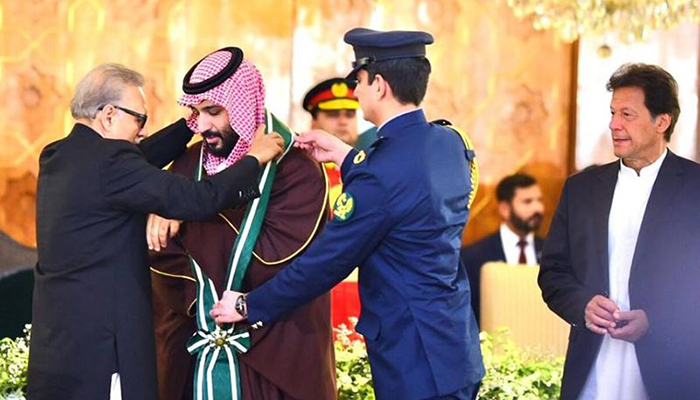 Saudi Arabia's Crown Prince Mohammed bin Salman conferred with the country's highest civil award Nishan-e-Pakistan
