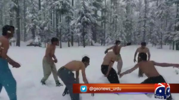 Kalam residents play snow kabaddi to raise awareness for wildlife protection