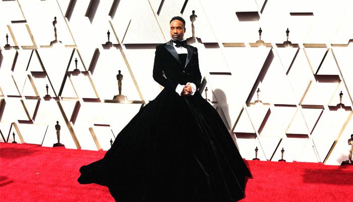 3a1d1b1c4c07 Artist Billy Porter rocks stunning 'custom couture' black dress on Oscars  red carpet