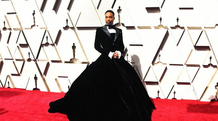 Artist Billy Porter rocks stunning 'custom couture' black dress on Oscars red carpet