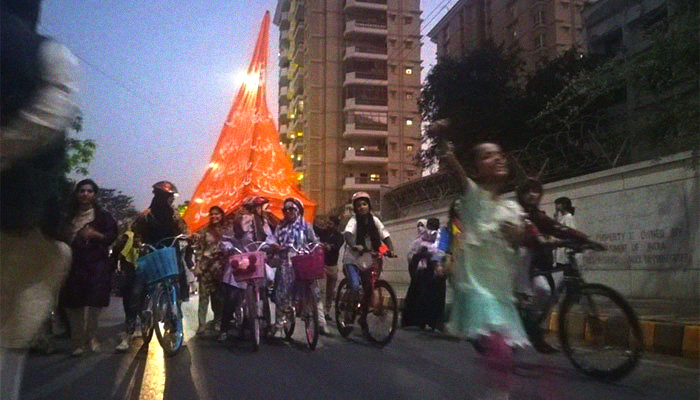Image result for aurat march in pakistan cycling