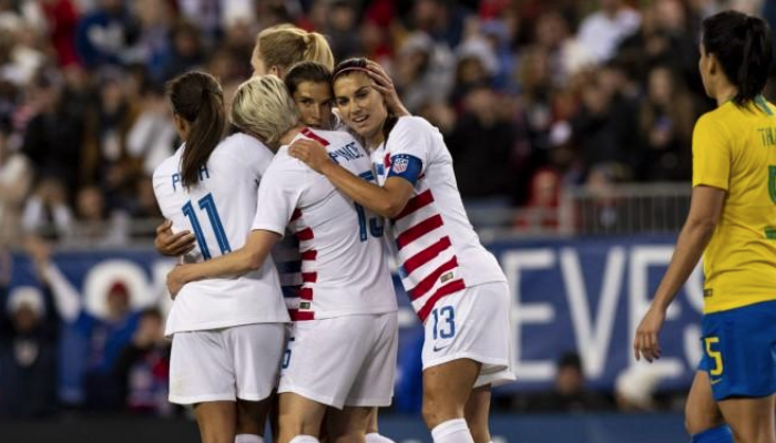 50a803daca1 United States forward Tobin Heath (17) and forward Alex Morgan (13)  celebrate after a goal during the first half against Brazil during a She  Believes Cup ...