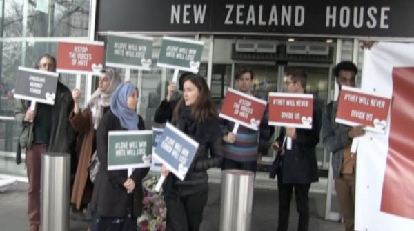 London residents gather outside New Zealand embassy, speak up against Islamophobia