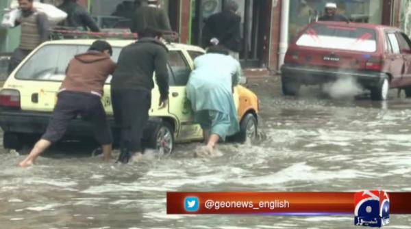Peshawar's University road flooded due to faulty drainage