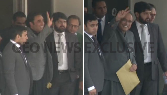 Bilawal Bhutto Zardarim, Asif Ali Zardari wave to supporters after being questioned by NAB. Photo: Geo News