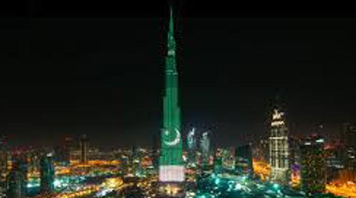 Dubai's Burj Khalifa lights up with Pakistan flag