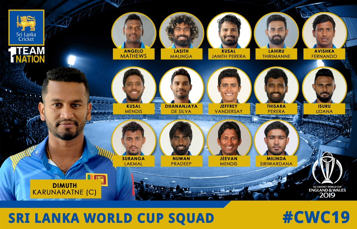 Sri Lanka announce 15-member squad for ICC World Cup 2019