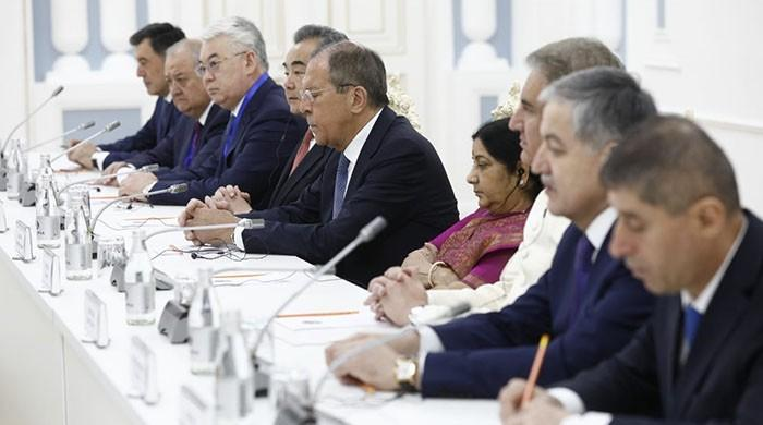 FM Qureshi seated next to Indian counterpart Swaraj during SCO meeting