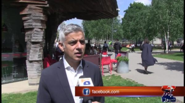 London Mayor Sadiq Khan campaigns for European elections under police security
