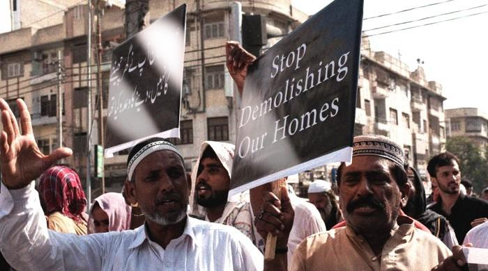 Helpless under the open sky, KCR affectees protest for alternative homes