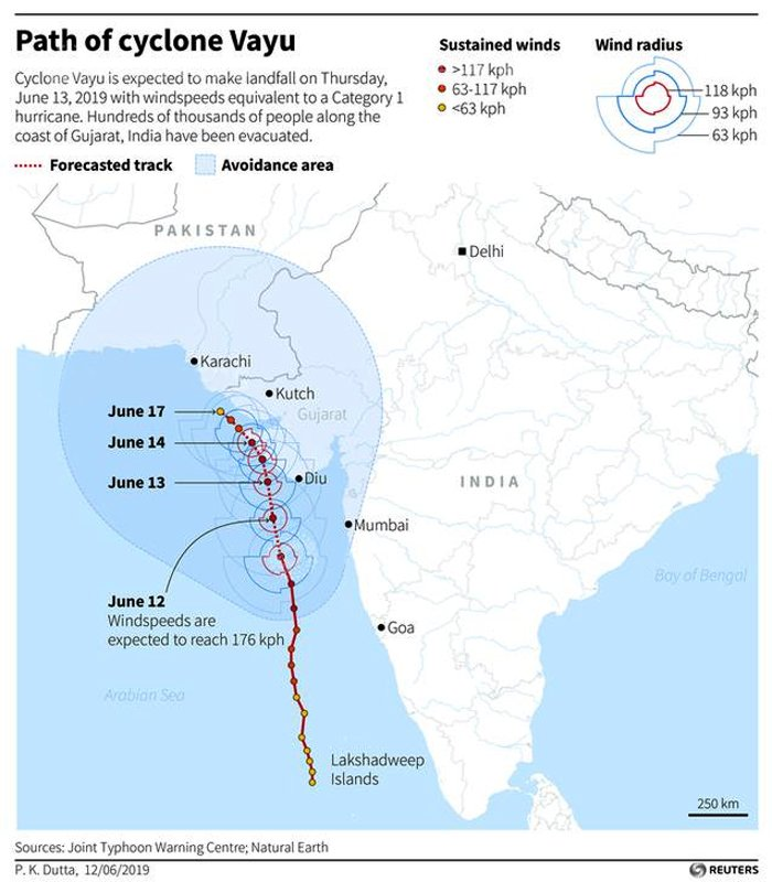 Map showing a forecast of the path of Cyclone Vayu, which is expected to make a landfall in India on Thursday, June 12, 2019.