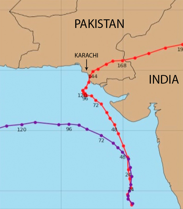 Map showing a forecast of the impact of Cyclone Vayu, June 12, 2019. Geo News/Screenshot via Geo.tv