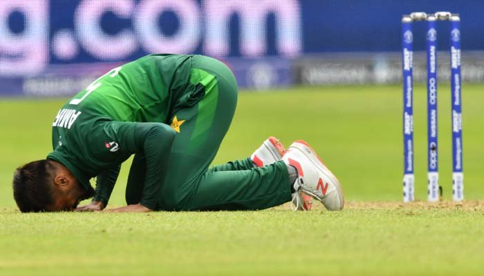 Pakistan´s Mohammad Amir celebrates his fifth wicket during the 2019 Cricket World Cup. Photo: AFP