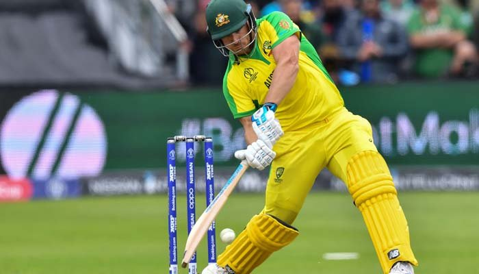 Australia´s captain Aaron Finch plays a shot during the 2019 Cricket World Cup. Photo: AFP