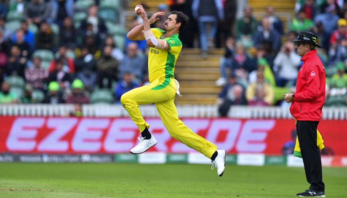 Australia´s Mitchell Starc delivers a ball during the 2019 Cricket World Cup. Photo: AFP