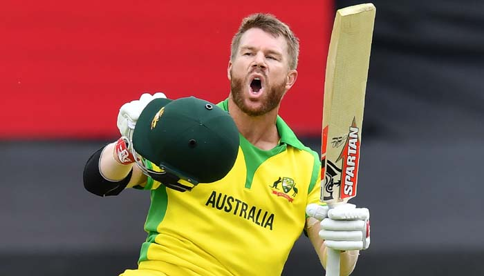 Australia´s David Warner celebrates after scoring a century (100 runs) during the 2019 Cricket World Cup. Photo: AFP