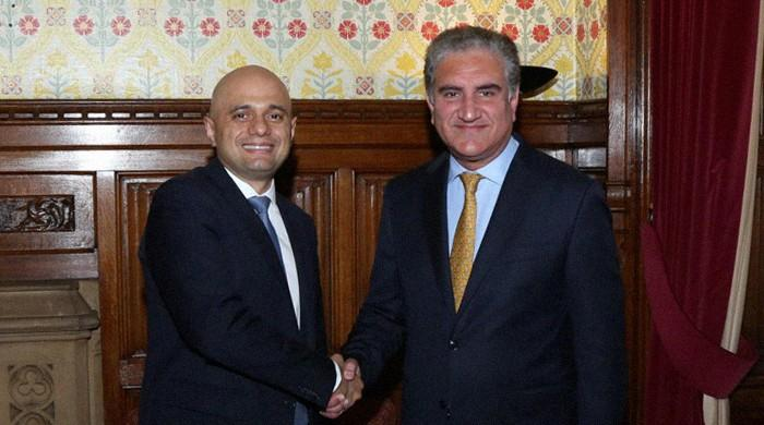 FM Qureshi meets UK Home Secretary Sajid Javid on visit to Britain