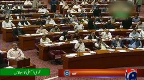 NA session ends in furore, Opp leader Shehbaz unable to complete budget speech