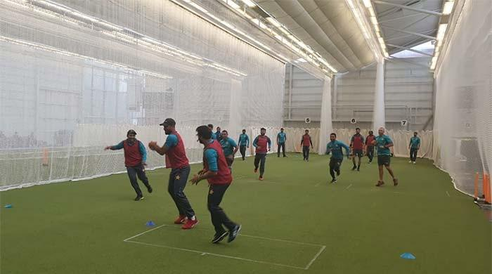 Rainy weather forces Pakistan cricketers to practice indoors