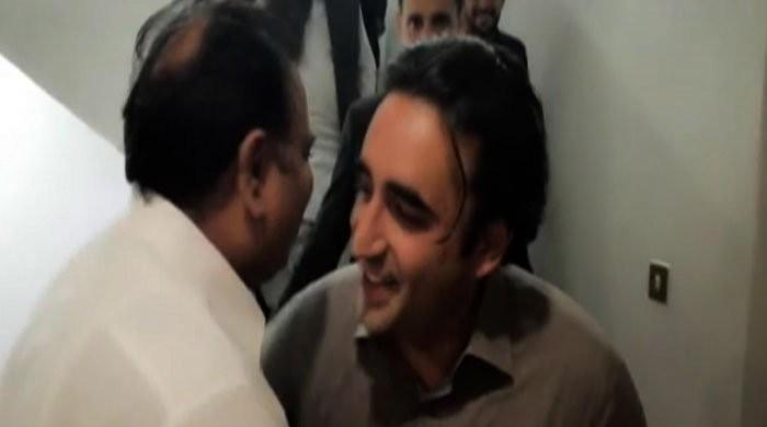 Bilawal, Fawad Chaudhry share lighthearted moment in parliament corridor