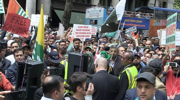 Twenty thousand protesters rally in support of Kashmir in London