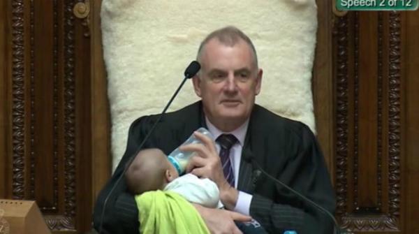 New Zealand speaker feeds lawmaker's baby during debate in Parliament
