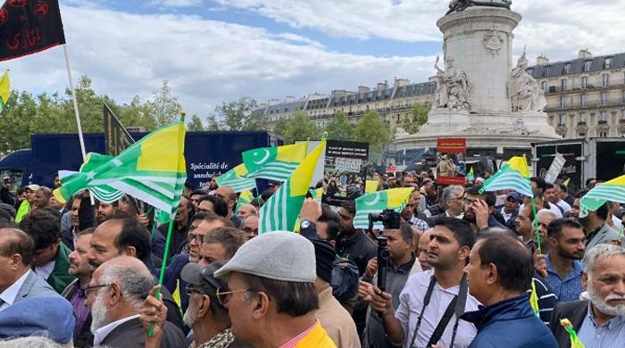 French rights groups march against India's occupation of Kashmir