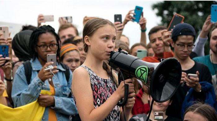 Teen climate activist Greta Thunberg protests at White House