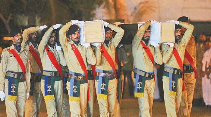 Pakistan Army soldiers martyred in Dir, N Waziristan on Sept 14 laid to rest