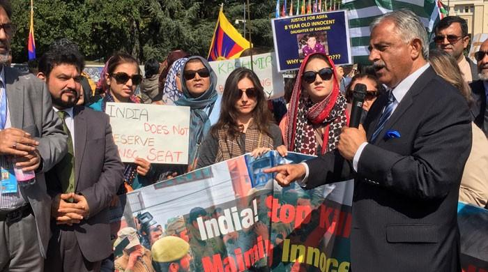 European Kashmiris protest atrocities in Indian occupied Kashmir