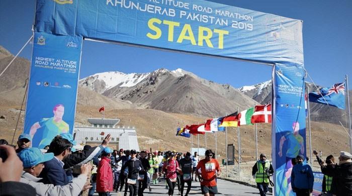 Pakistani athletes clinch all spots in Khunjerab's Highest Altitude Road Marathon